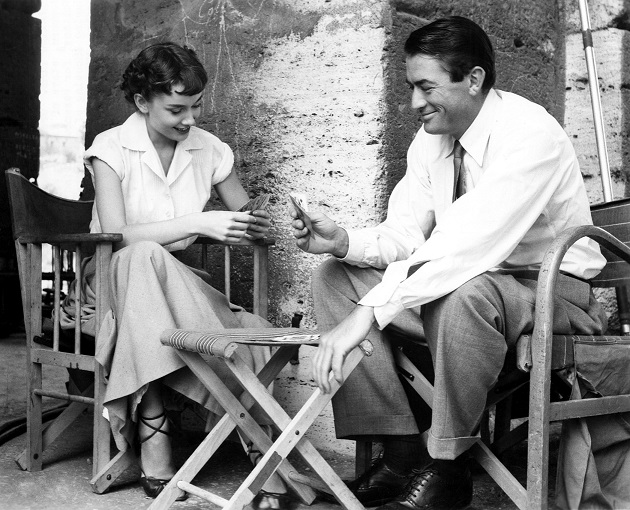 "Audrey Hepburn and Gregory Peck relax in Rome during a break from shooting the 1953 film ""Roman Holiday.""  In celebration of the film's 50th anniversary, ""Roman Holiday"" will screen at the Academy of Motion Picture Arts and Sciences in Beverly Hills on Thursday, September 25, 2003."
