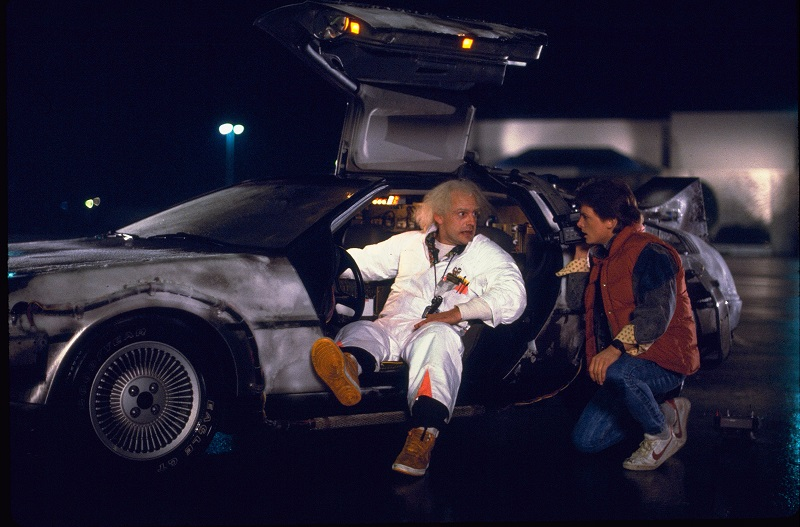 "A scene photograph from the 1985 movie ""Back to the Future."" In the 1989 film ""Back to the Future II,"" Marty McFly traveled to Oct. 21, 2015, a future with flying cars, auto-drying clothes and shoes that lace automatically."