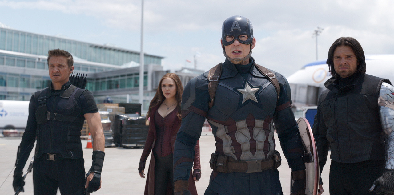 Marvel's Captain America: Civil War L to R: Hawkeye/Clint Barton (Jeremy Renner), Scarlet Witch/Wanda Maximoff (Elizabeth Olsen), Captain America/Steve Rogers (Chris Evans), and Winter Soldier/Bucky Barnes (Sebastian Stan) Photo Credit: Film Frame © Marvel 2016