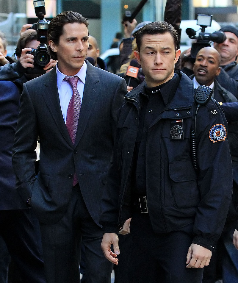 Christian Bale and Joseph Gordon Levitt on location for 'Dark Knight' in NYC. Pictured: Christian Bale and Joseph Gordon Levitt Ref: SPL329912 281011 Picture by: Jackson Lee / Splash News Splash News and Pictures Los Angeles: 310-821-2666 New York: 212-619-2666 London: 870-934-2666 photodesk@splashnews.com