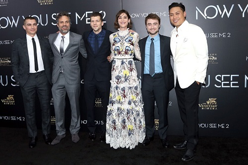 "NEW YORK, NY - JUNE 06:  Actors Dave Franco, Mark Ruffalo, Jesse Eisenberg, Lizzy Caplan, Daniel Radcliffe and Directer Jon Chu attend Summit Entertainment presents the world premiere of ""Now You See Me 2"" at AMC Loews Lincoln Square on June 6, 2016 in New York City.  (Photo by Jimi Celeste/Patrick McMullan via Getty Images)"