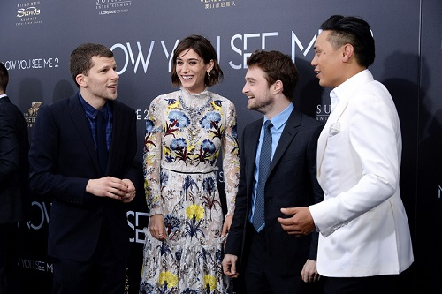 "NEW YORK, NY - JUNE 06:  (L-R) Jesse Eisenberg, Lizzy Caplan, Daniel Radcliffe and director Jon M. Chu attend the ""Now You See Me 2"" World Premiere at AMC Loews Lincoln Square 13 theater on June 6, 2016 in New York City.  (Photo by Ben Gabbe/Getty Images)"