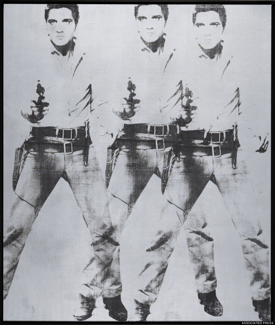 "FILE - This undated file photo provided by Christie's shows Andy Warhol's ""Triple Elvis."" Executed in ink and silver paint in 1963, the work brought $81.9 million on Wednesday, Nov. 12, 2014 when it was sold at auction by Christie's in New York during their Post-War & Contemporary Art Evening Sale. (AP Photo/Christie's, File)"