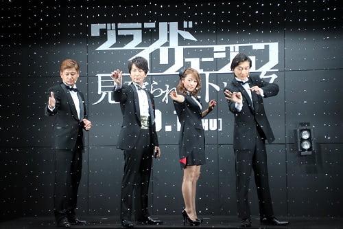 左から、テツヲ(ROUTE13)<マジシャン/マジッククリエイター>、新子景視(あたらし けいし)<マジシャン>、鈴木奈々さん<タレント>、Magura(マグラ)