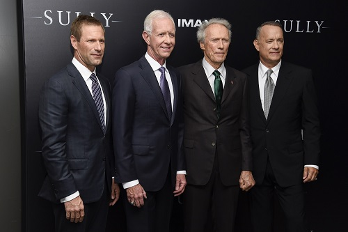 """NEW YORK, NY - SEPTEMBER 06:  (L-R) Aaron Eckhart, Chesley """"Sully"""" Sullenberger, Clint Eastwood and Tom Hanks attend the """"Sully"""" New York Premiere at Alice Tully Hall on September 6, 2016 in New York City.  (Photo by Matthew Eisman/Getty Images)"""